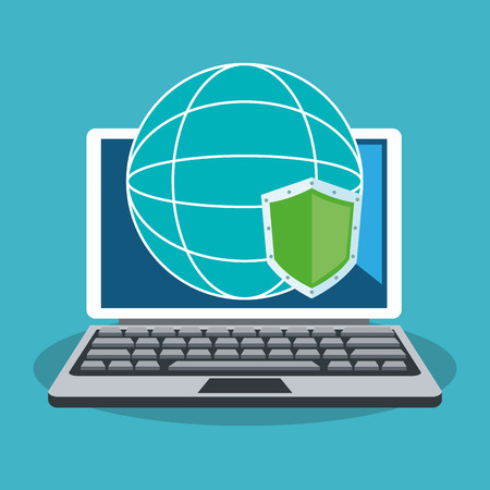 detected: laptop computer with global sphere and shield icon over blue background. colorful design. vector illustration Illustration