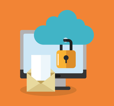 computer with padlock, envelope and cloud icon over orange background. colorful design. vector illustration