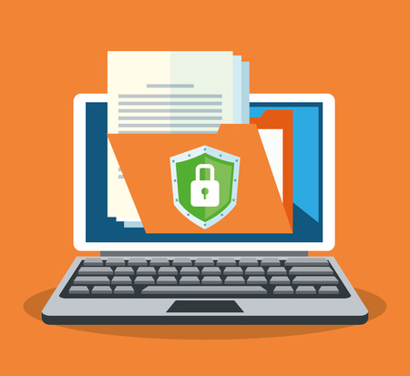 detected: laptop computer with file documents over orange background. colorful design. vector illustration