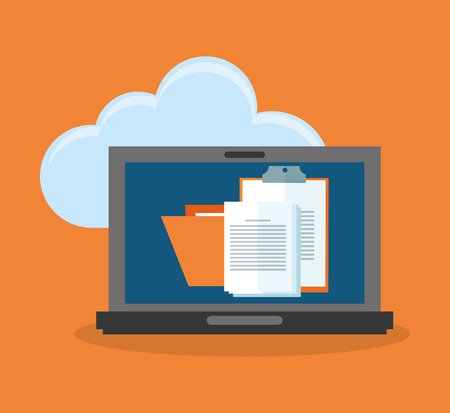 computer with document pages on screen over cloud and orange background. colorful design. vector illustration