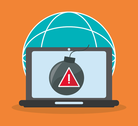 piracy: computer with bomb icon on screen over orange background. colorful design. vector illustration Illustration