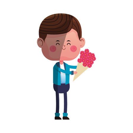 boy with flowers bouquet over white background. colorful design. vector illustration