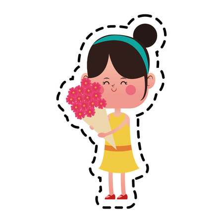 girl with flowers bouquet over white background. colorful design. vector illustration