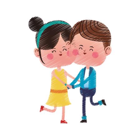 couple in love over white background. colorful design. vector illustration Illustration