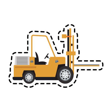 forklift truck icon over white background. colorful design. vector illustration