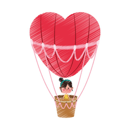 girl on a hot air balloon over white background. colorful design. vector illustration