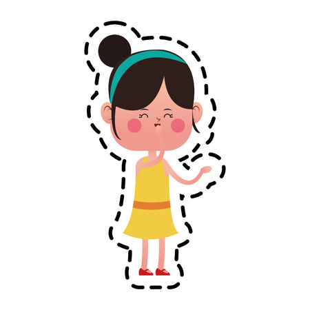 girl icon over white background. colorful design. vector illustration Illustration