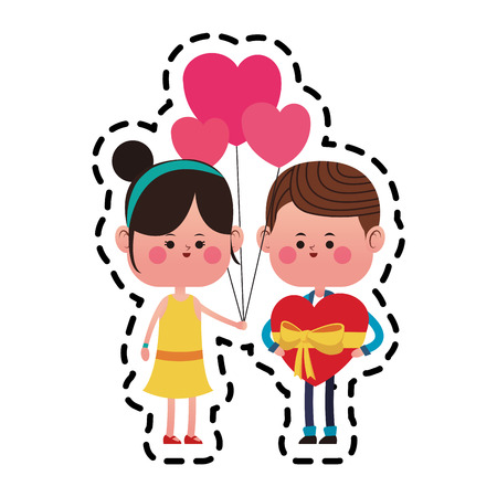 couple in love holding a heart ballons over white background. colorful design. vector illustration