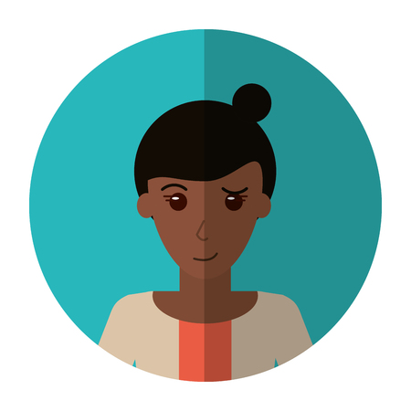 woman shadow: woman bun hair sweater casual shadow vector illustration