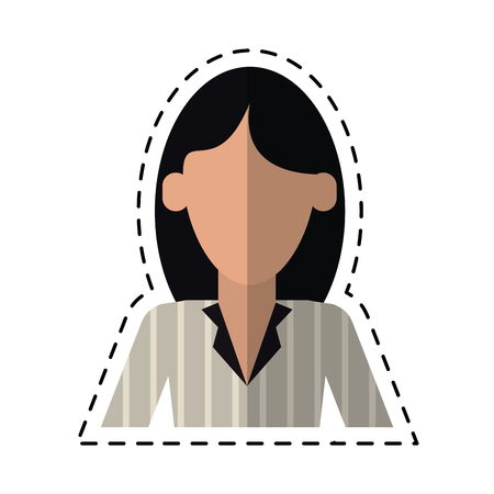 woman with elegant business suit stripe cutting line vector illustration