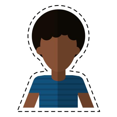 男若い毛 t シャツ切削線のベクトル図