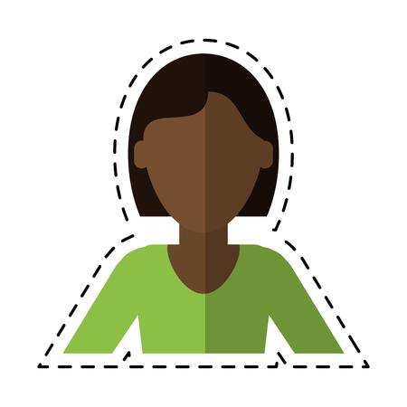 woman short hair ethnicity cutting line vector illustration Illustration