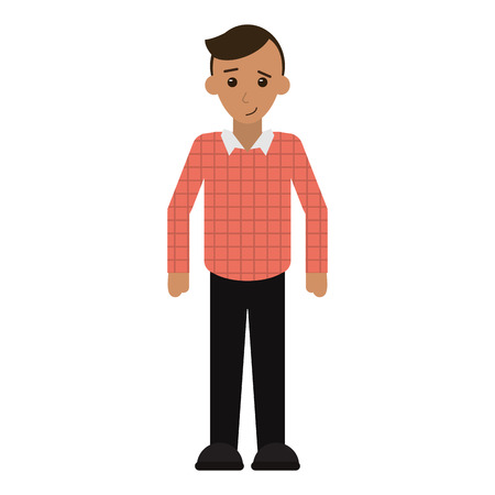 young man plaid shirt worker occupation vector illustration