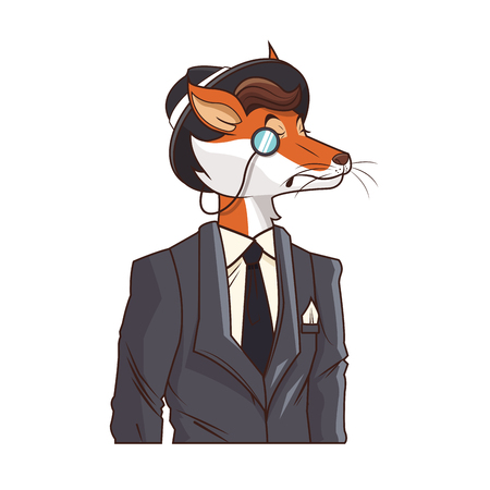 fox with hipster style over white background. colorful design. vector illustration