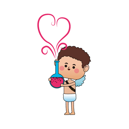 baby cupid holding a potion of love with heart icon over white background. colorful design. vector illustration