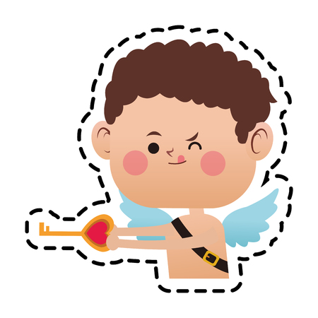 baby cupid with key in heart shape over white background. colorful design. vector illustration