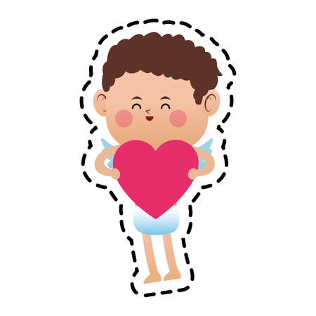 baby cupid with heart icon over white background. colorful design. vector illustration