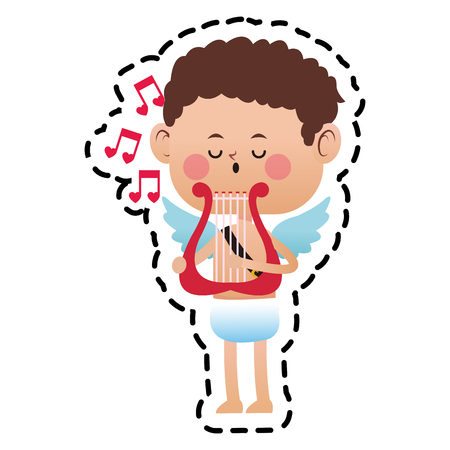 baby cupid playing a lyre over white background. colorful design. vector illustration Illustration