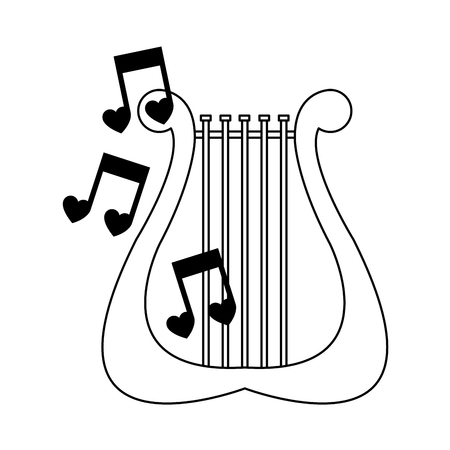 lyre with musical notes over white background. vector illustration