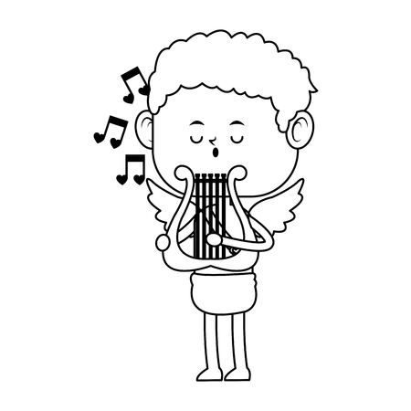baby cupid playing a lyre over white background. vector illustration