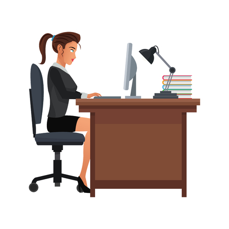 businesswoman working at the office over white background. colorful design. vector illustration Illustration