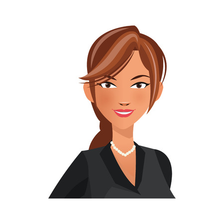 associates: businesswoman wearing executive clothes over white background. colorful design. vector illustration Illustration