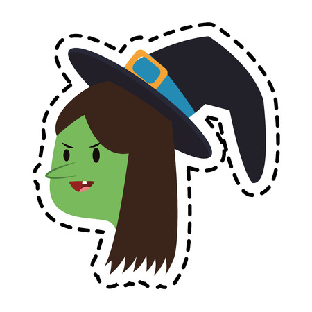 night dress: witch cartoon icon over white background. colorful design. vector illustration