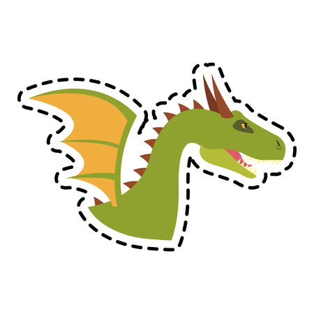 dragon cartoon icon over white background. colorful design. vector illustration Illustration