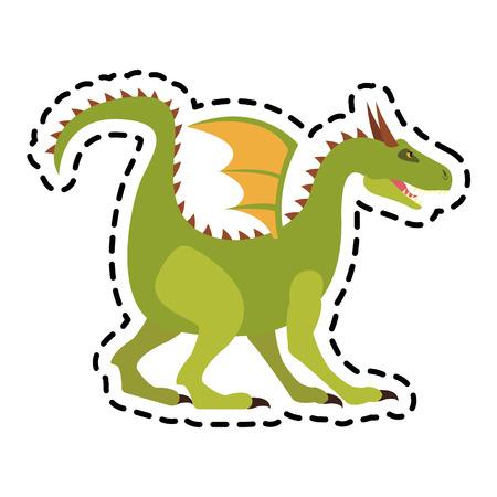 legends: dragon cartoon icon over white background. colorful design. vector illustration Illustration
