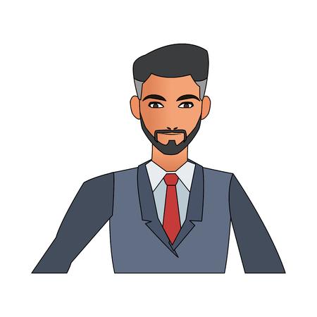 businessman cartoon icon over white background. colorful design. vector illustration Illustration