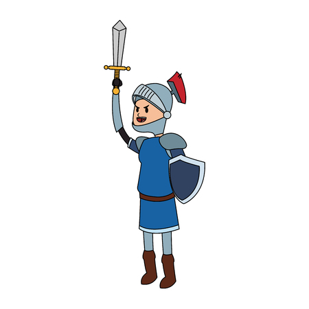 knight cartoon icon over white background. colorful design. vector illustration