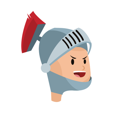 medieval knight cartoon icon over white background. colorful desing. vector illustration