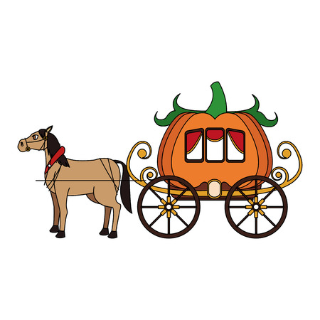 chariot: horse with medieval carriage in pumpkin shape icon over white background. colorful design. vector illustration Illustration