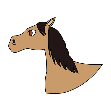 Horse cartoon icon over white background. colorful design. vector illustration Illustration