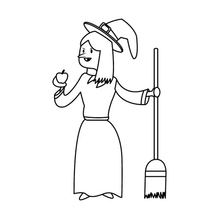 night dress: witch cartoon icon over white background. vector illustration Illustration
