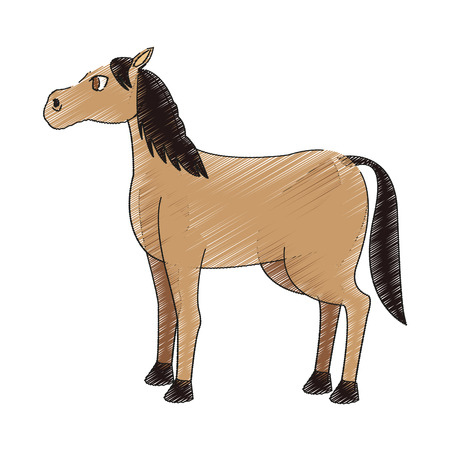 horse cartoon icon over white background. vector illustration