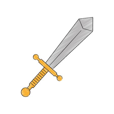 longsword: sword weapon icon over white background. vector illustration Illustration