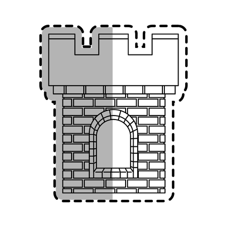 citadel: medieval cartoon icon over white background. vector illustration