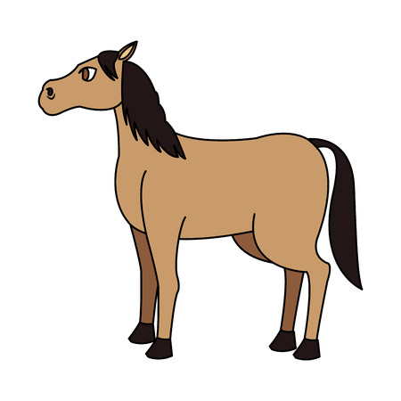 Horse cartoon icon over white background. colorful design. vector illustration Ilustração