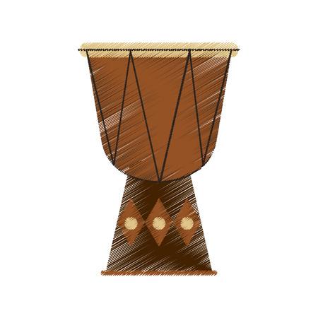 djembe drum instrument icon over white background. colorful design. vector illustration Illustration
