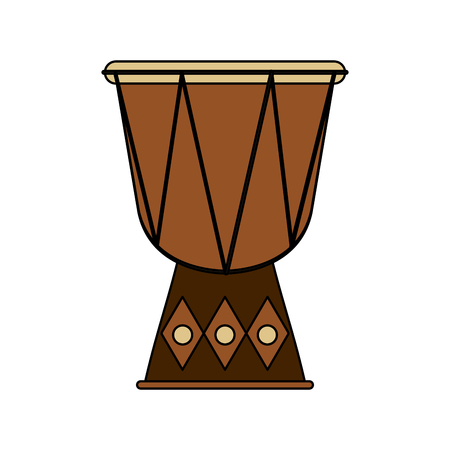 djembe drum instrument icon over white background. colorful design. vector illustration Illustration