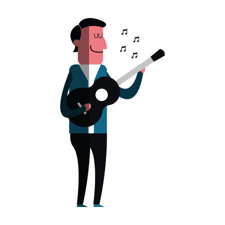 man playing a guitar over white background. colorful design. vector illustration Illustration