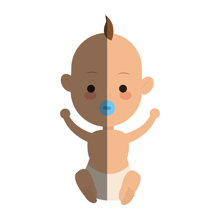baby boy cartoon icon over white background. colorful design. vector illustration