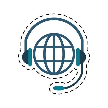 world planet head service communication cut line vector illustration