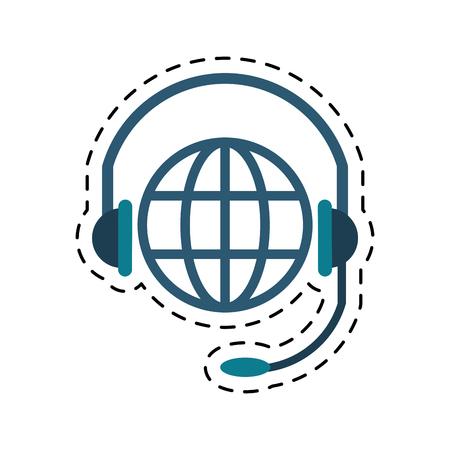 world planet head service communication cut line vector illustration