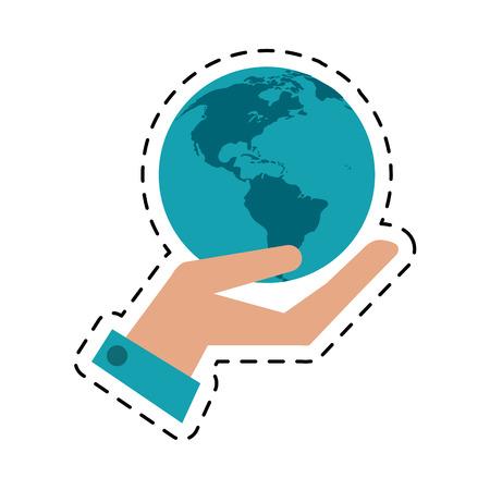 esp: hand holding world concept communication cut line vector illustration esp 10