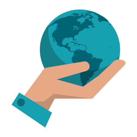 esp: hand holding world concept communication vector illustration esp 10