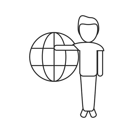 esp: man globe connection technology thin line vector illustration esp 10