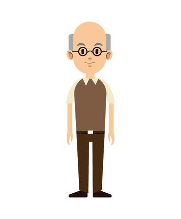 signos vitales: senior man bald with glasses and vest vector illustration eps 10 Vectores