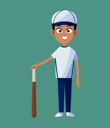 player boy baseball uniform bat and ball green background vector illustration eps 10